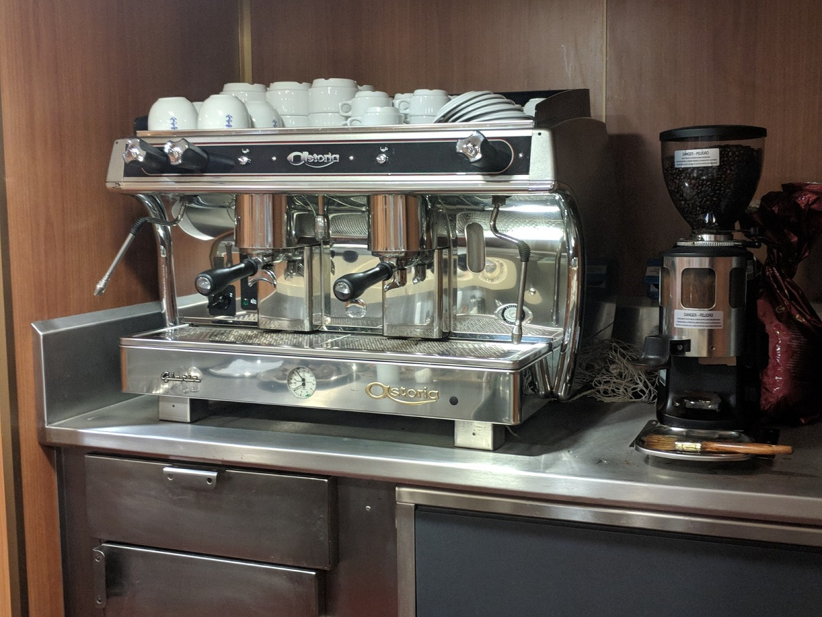 The Italian warship comes equipped with no fewer than five espresso machines. (David B. Larter/Staff)