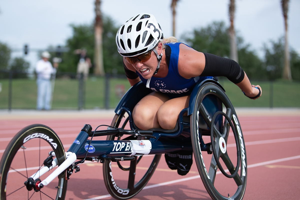 Retired Air Force Capt. Kristen Morris competes in wheel chair racing at the 2019 DoD Warrior Games on June 22 at the University of Southern Florida. (Master Sgt. David Long/Air Force)