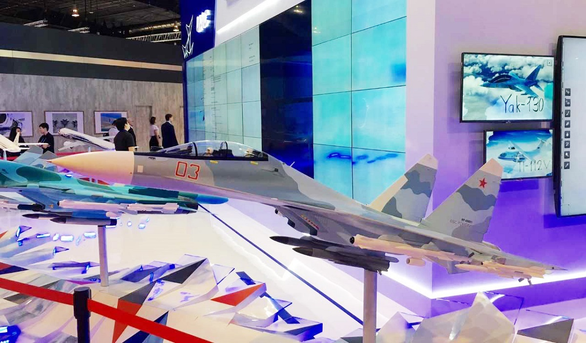 Russia had no military aircraft on display, but its United Aircraft Corporation was out in force in the exhibition halls. (Mike Yeo/Staff)