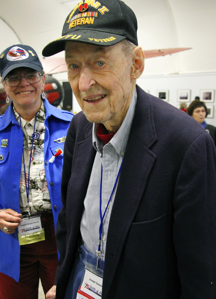 In this May 19, 2018, photo World War II veteran Joseph Sasser, of Carthage, Miss., attends a 75th anniversary celebration of the Battle of Attu in Anchorage, Alaska. Dover was an American soldier who took part in the May 1943 effort to reclaim Alaska's Attu Island from the Japanese. It was the only World War II battle fought on North American soil. (Mark Thiessen/AP)