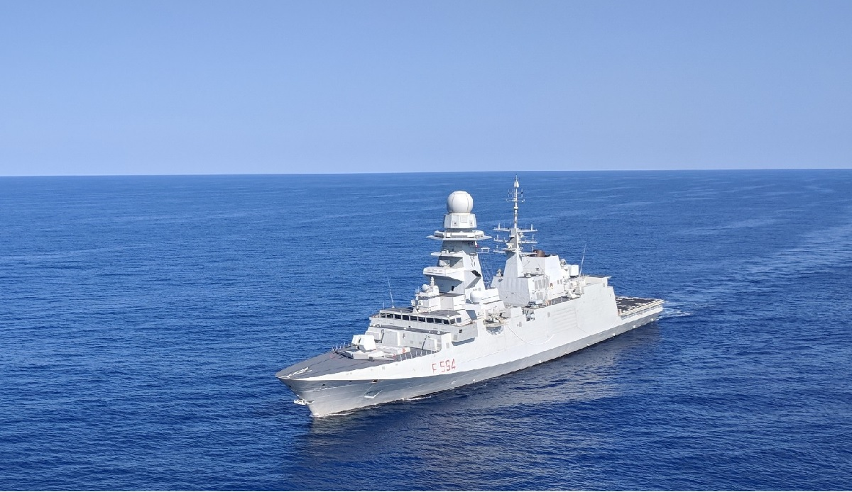 The Italian FREMM Alpino underway off the coast of Virginia during its 2018 deployment to the East Coast. (Staff photo by David B. Larter)