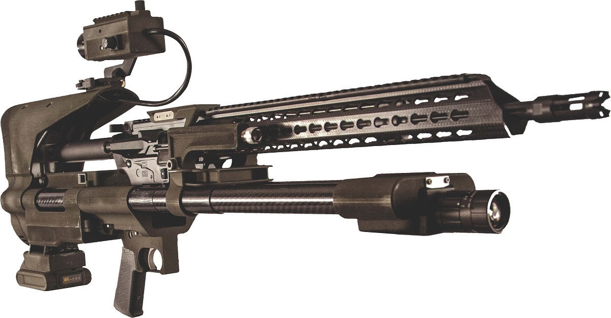 The AIMLOCK system is a computer-controlled, stabilized system that can auto-correct a rifle's aim for pinpoint accuracy and identify and recommend targets. (Army)