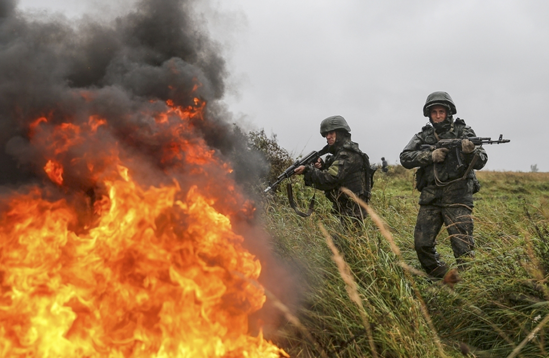 Russian troops participate in a military exercise at a training ground near Kaliningrad, Russia, on Sept. 18, 2017. The Zapad 2017 maneuvers have caused concern among some NATO members neighboring Russia, who have criticized a lack of transparency about the exercises and questioned Moscow's real intentions. (Russian Defence Ministry Press Service/AP)