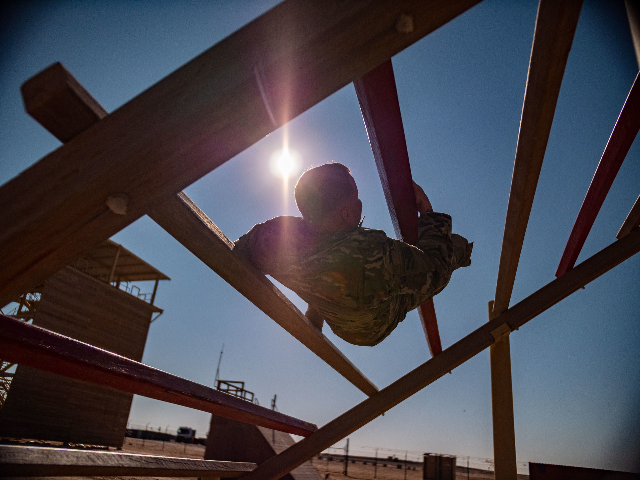 U.S. soldiers in the South Carolina National Guard's 4-118th Infantry Regiment, 30th Armored Brigade Combat Team conduct tryouts on the obstacle course for air assault school at Camp Buehring, Kuwait, Dec. 21, 2019. (Maj. David House/Army National Guard)