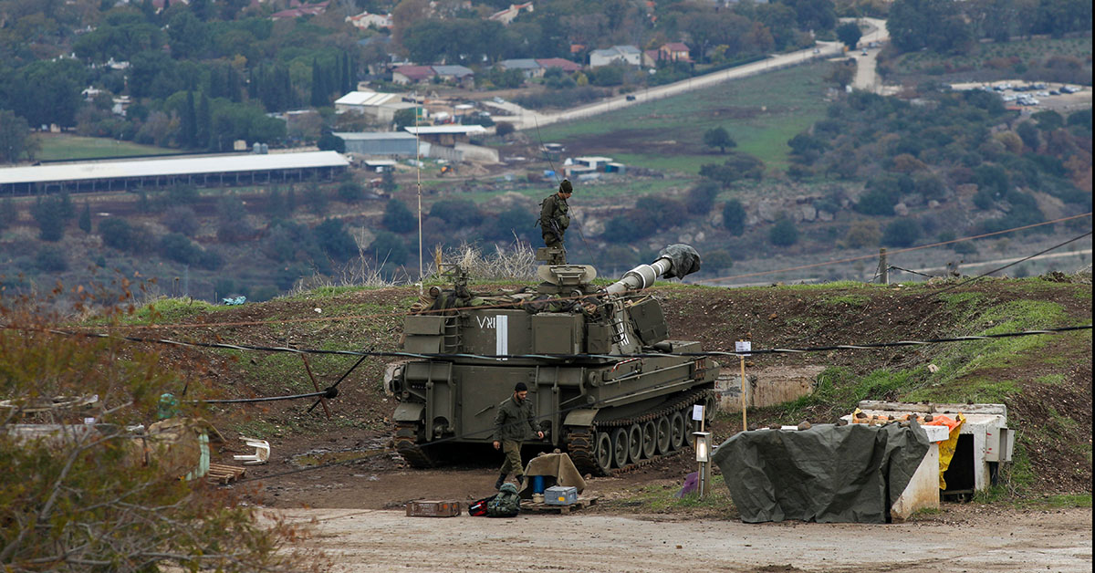 Israeli troops are pictured in the Israeli-annexed Golan Heights on the border with Syria on January 3, 2020. - Israeli Prime Minister Benjamin Netanyahu cut short a visit to Greece and flew home as Lebanon's Hezbollah demanded revenge for the killing of a top Iranian commander in a US strike. (JALAA MAREY/AFP via Getty Images)