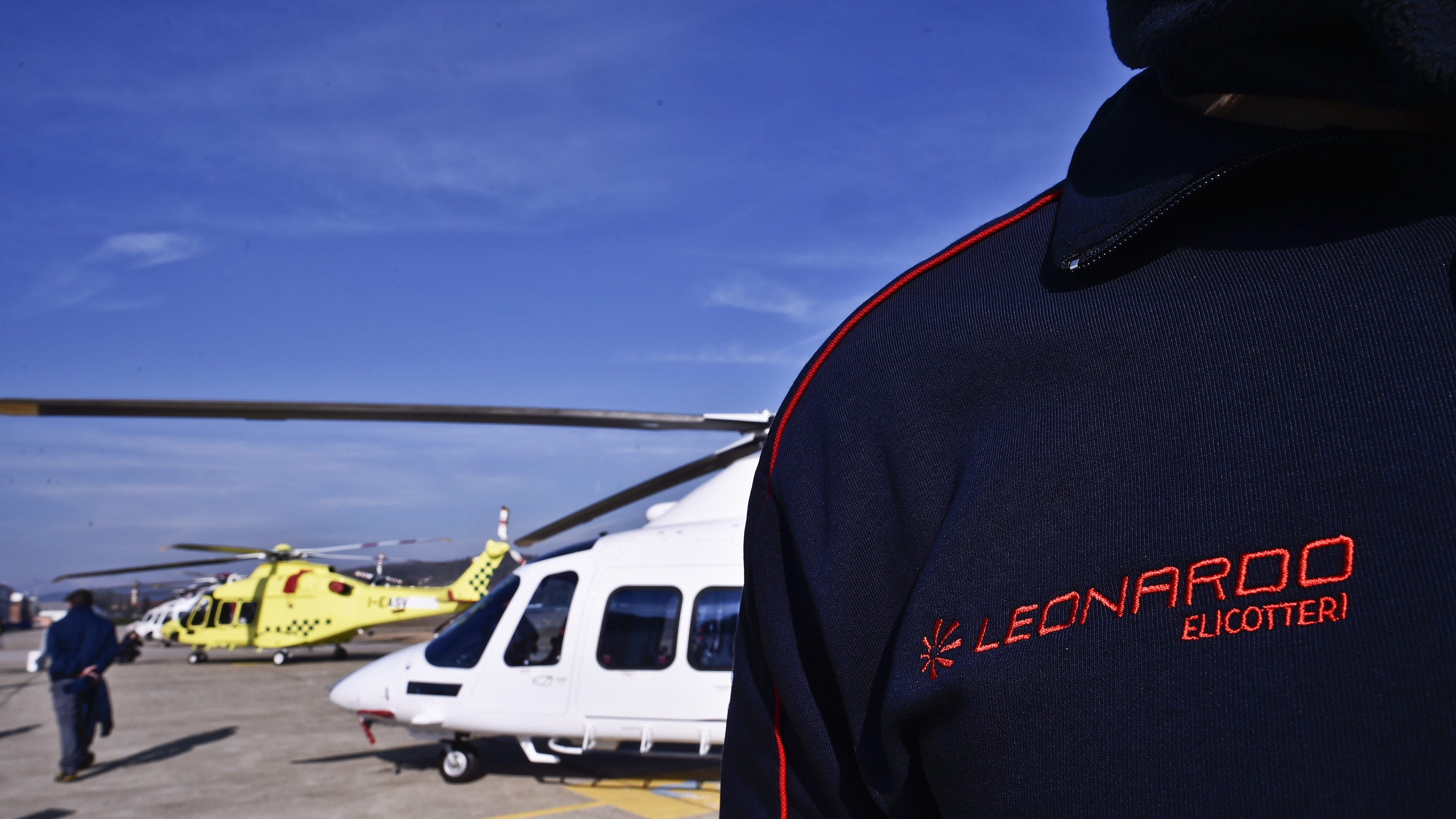 The logo of the Leonardo Helicopters division is seen on the jacket of an employee on Jan. 30, 2018, in Vergiate, near Milan. (Marco Bertorello/AFP via Getty Images)