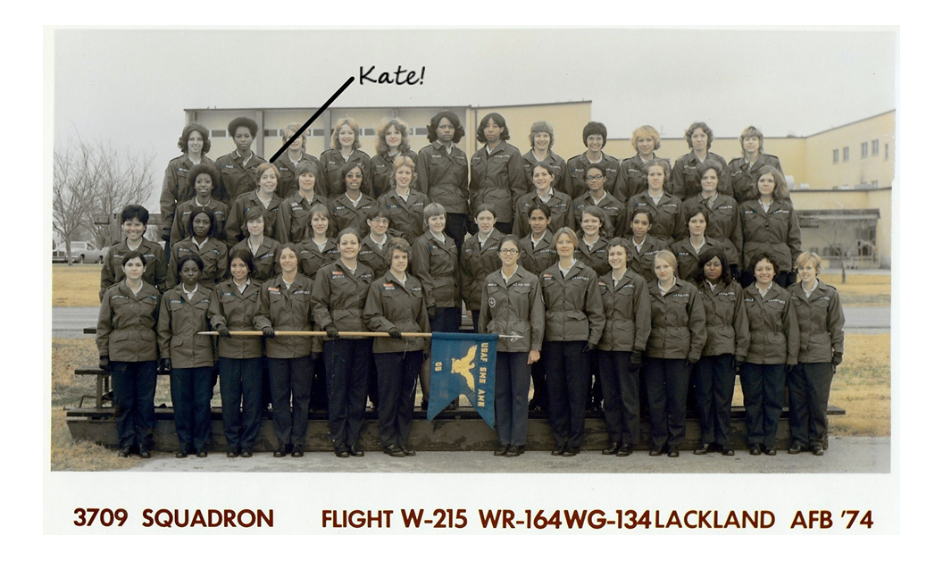 Airman Kate Kelly with her flight class at Lackland Air Force Base in 1974, just prior to getting assigned to George Air Force base. Kelly said she began to feel ill almost immediately upon arriving at George. She ultimately had three miscarriages and was never able to have children. While at George Kelly met her former husband, Ronald Holdren. He died in 2008 of multiple myeloma, a cancer that forms in plasma cells.