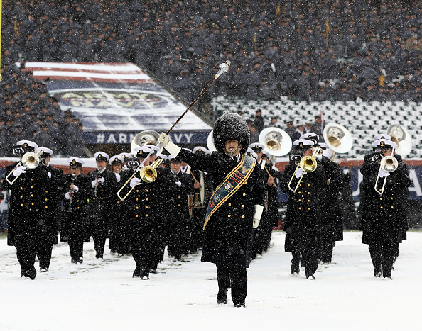 The Naval Academy band takes the field prior to Saturday's game in Philadelphia. (Elsa/Getty Images)