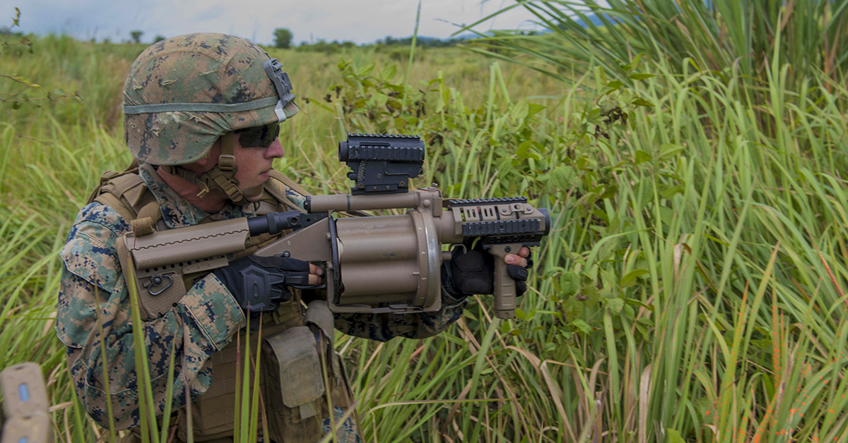180617-N-MZ078-1089 CHANTHABURI, Thailand (June 17, 2018) - Lance Cpl. Spencer Wright, assigned to 2nd Battalion, 8th Marine Regiment, participates in a field exercise in support of Cooperation Afloat Readiness and Training (CARAT) Thailand 2018. The CARAT exercise series, in its 24th iteration, highlights the skill and will of regional partners to cooperatively work together towards the common goal of ensuring a secure and stable maritime environment. (MC3 Lucas T. Hans/Navy)
