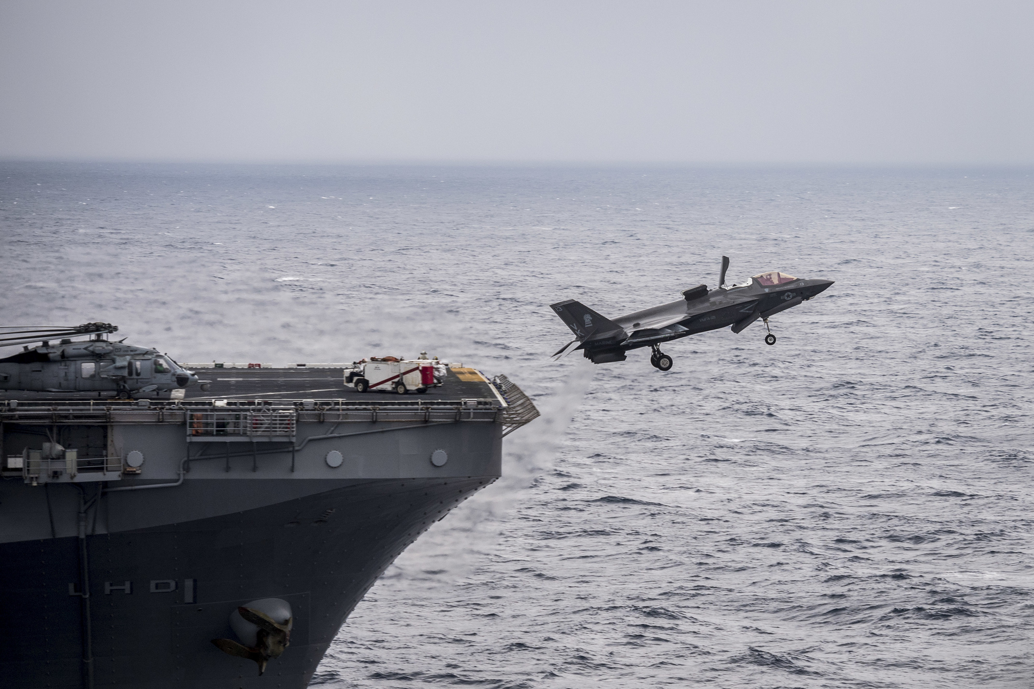 An F-35B Lightning II aircraft takes off from the flight deck of the amphibious assault ship USS Wasp (LHD 1) on Feb. 9, 2019, in the Philippine Sea. (Mass Communication Specialist 2nd Class Sarah Myers/Navy)