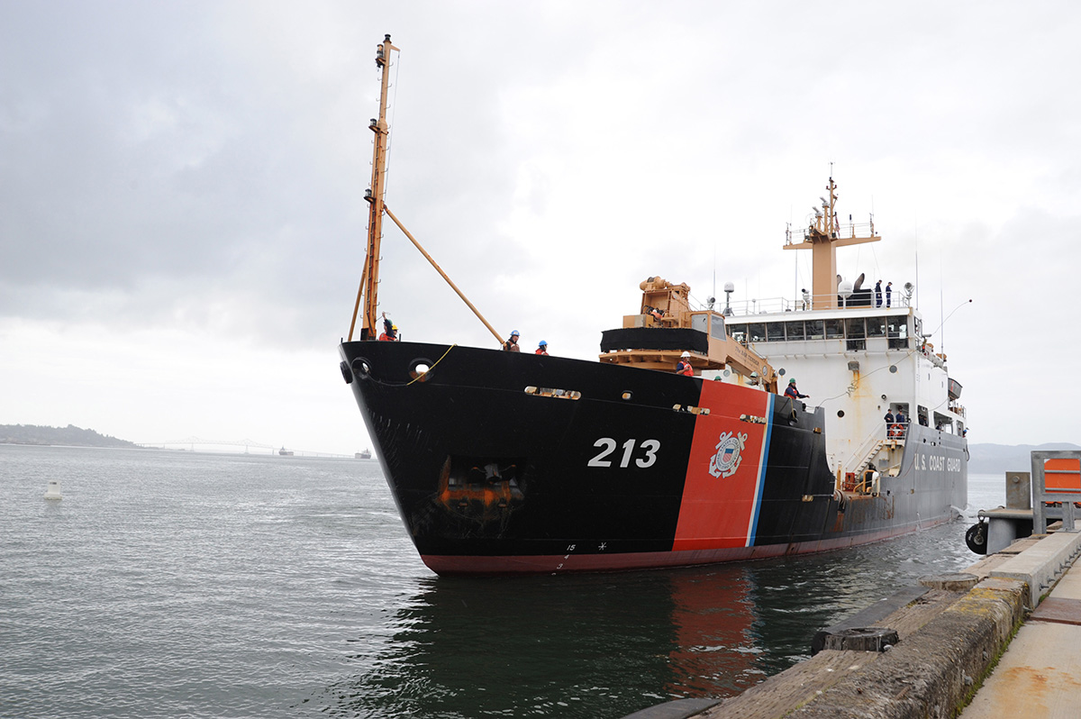 The crew of the Coast Guard Cutter Fir, a 225-foot seagoing buoy tender, returned to homeport at Coast Guard Base Tongue Point in Astoria, Ore., Oct. 22, 2010. (Petty Officer 3rd Class Kelly Parker/Coast Guard)