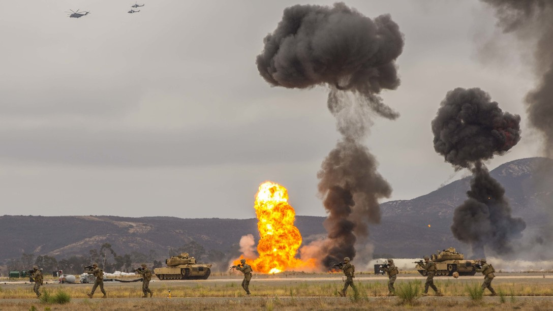 Marines demonstrate the capabilities of the Marine Air-Ground Task Force at the 2019 Marine Corps Air Station Miramar Air Show on MCAS Miramar, Calif., Sept. 27. (Lance Cpl. Jaime Reyes/Marine Corps)
