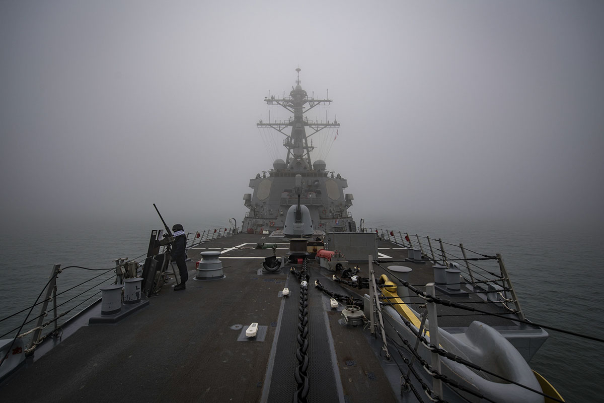 The Arleigh Burke-class guided-missile destroyer Porter transits the Danish Straits. Porter is forward-deployed to Rota, Spain, on its fifth patrol in the U.S. 6th Fleet area of operations in support of U.S. national security interests in Europe. (MC3 Ford Williams/Navy)