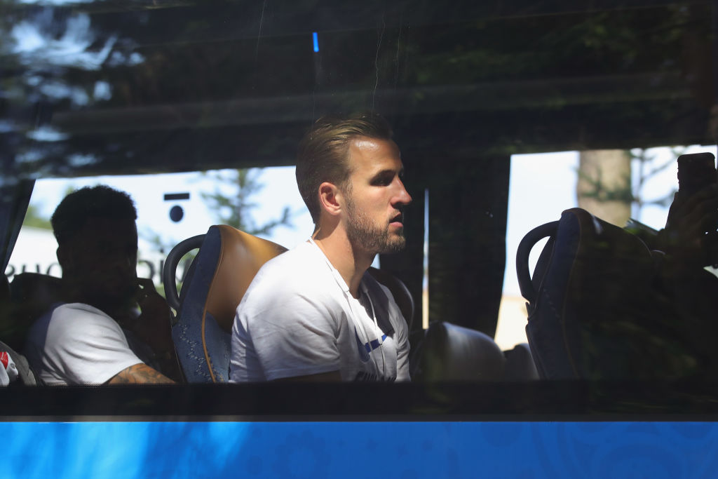 Harry Kane of England looks on as team England depart from the 2018 FIFA World Cup in Russia. Kane, the World Cup Golden Boot winner, will be playing for Tottenham July 25 in San Diego. (Alexander Hassenstein/Getty Images)