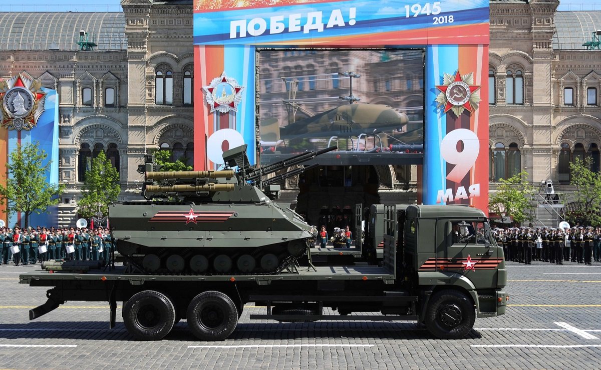 Attendees got a glimpse of the Uran-9 unmanned combat vehicle, which recently saw testing in Syria. (Russian Presidential Press and Information Office)