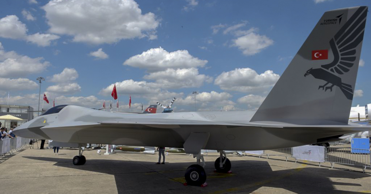 A full-scale model of a future Turkish fighter is presented on the first day of the Paris Air Show. (Eric Piermont/AFP via Getty Images)