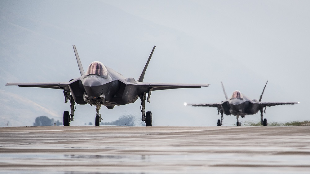 F-35A Lightning II aircraft from Hill Air Force Base, Utah, proceed down the taxiway at the base, Aug. 8. (Paul Holcomb/Air Force)