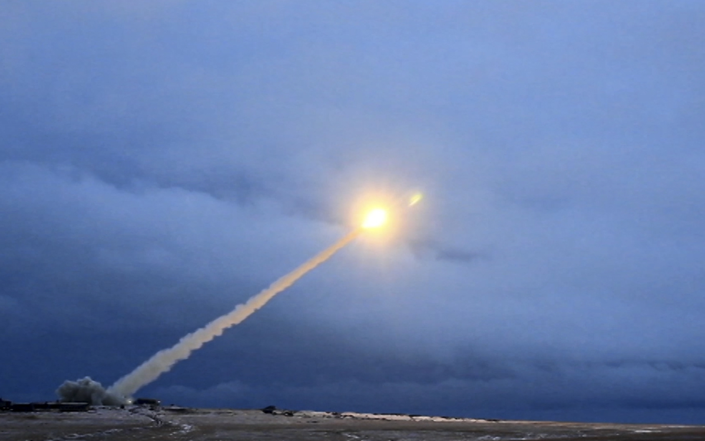 This video grab shows the launch of what President Vladimir Putin said is Russia's new nuclear-powered intercontinental cruise missile. (RU-RTR Russian Television via AP)