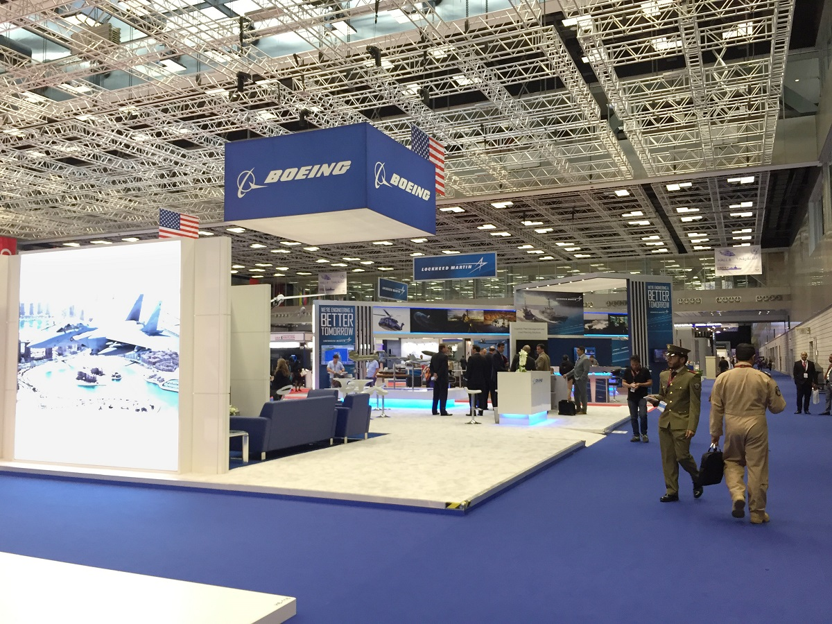 Boeing's booth at the 2018 Doha International Maritime Defence Exhibition and Conference in Qatar. (Chirine Mouchantaf/Staff)