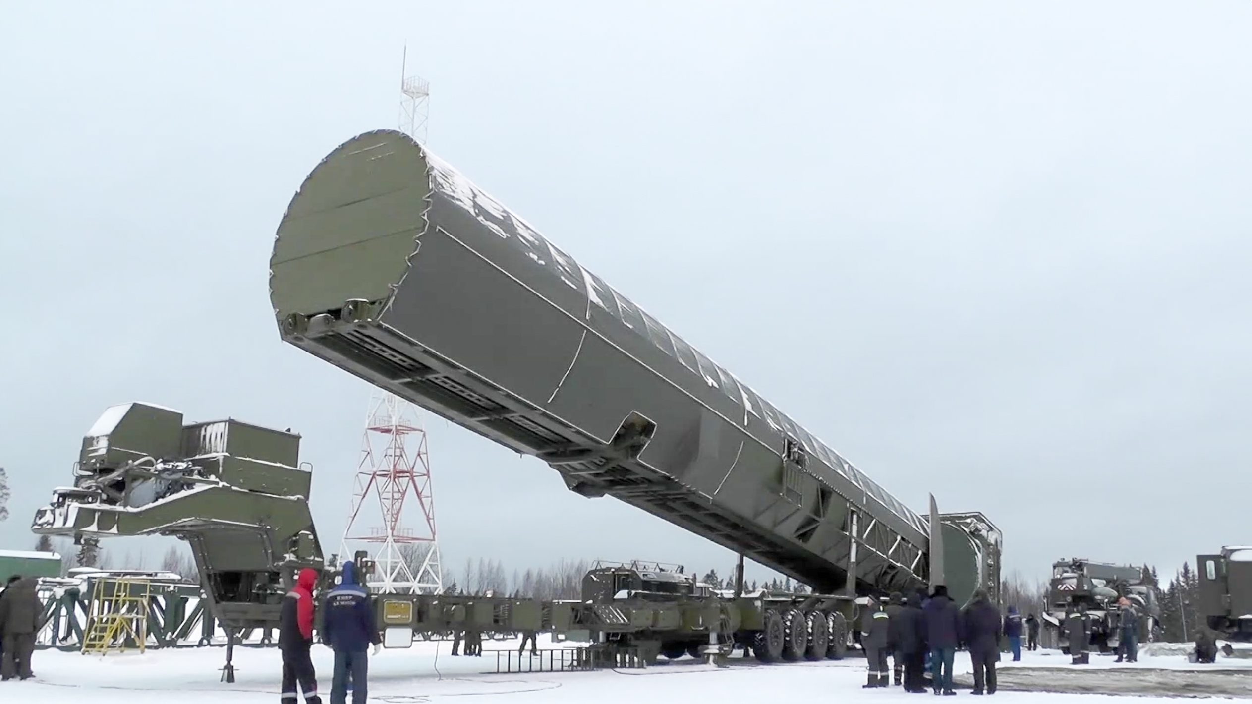 Russia's new Sarmat intercontinental missile is shown at an undisclosed location in Russia. (RU-RTR Russian Television via AP)