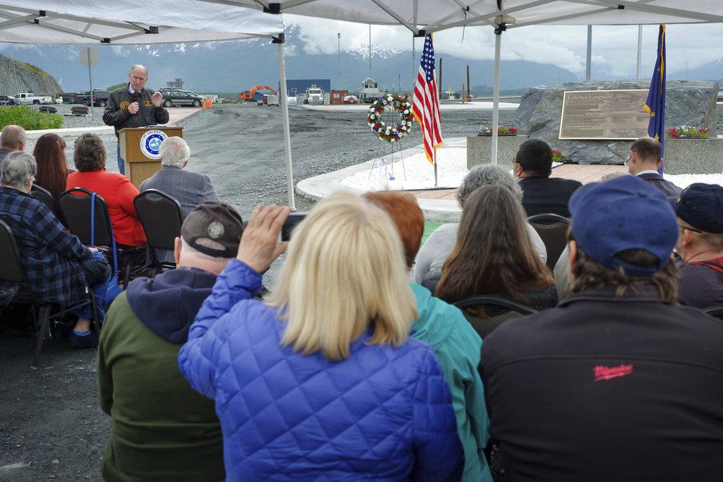 Alaska Gov. Bill Walker delivers remarks at a plaque dedication ceremony June 23, 2018, in Valdez, Alaska. (David Lienemann/Office of Gov. Bill Walker via AP)