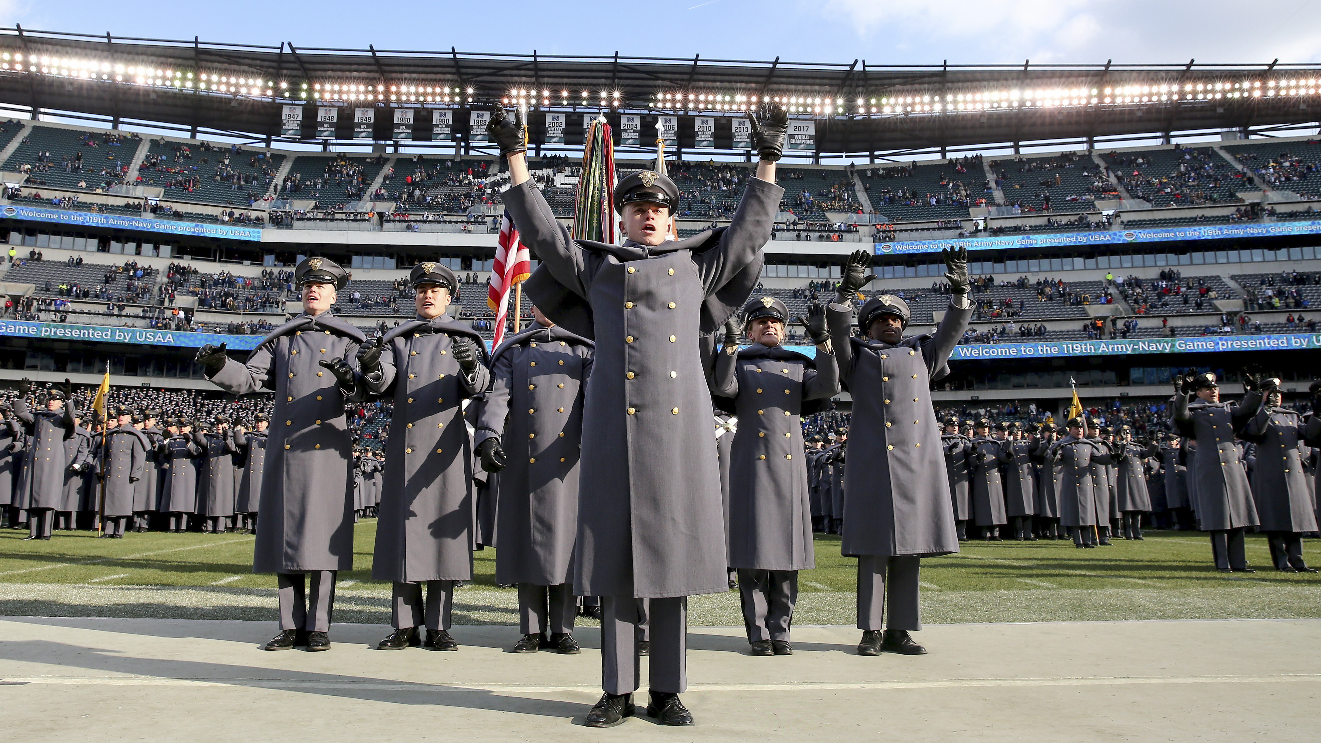 The Army cadets chant after they marched on the field before the game between the Army Black Knights and the Navy Midshipmen at Lincoln Financial Field on December 08, 2018 in Philadelphia, Pennsylvania. (Photo by Elsa/Getty Images)