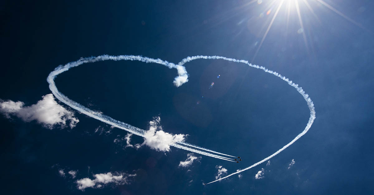 The Air Force Thunderbirds create a heart shape in the sky during their aerial demonstration at Cannon Air Force Base, New Mexico. (Senior Airman Luke Kitterman/Air Force)