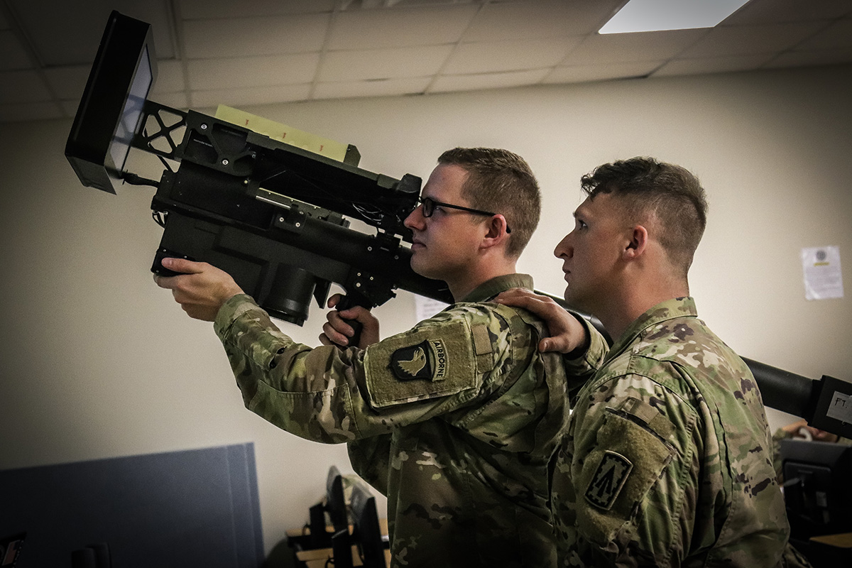 The Stinger Tactical Proficiency Trainer provides soldiers with the capability to identify and engage aircraft while in a garrison environment at Fort Campbell, Ky., Feb 7, 2019. (Sgt. Aaron Daugherty/Army)