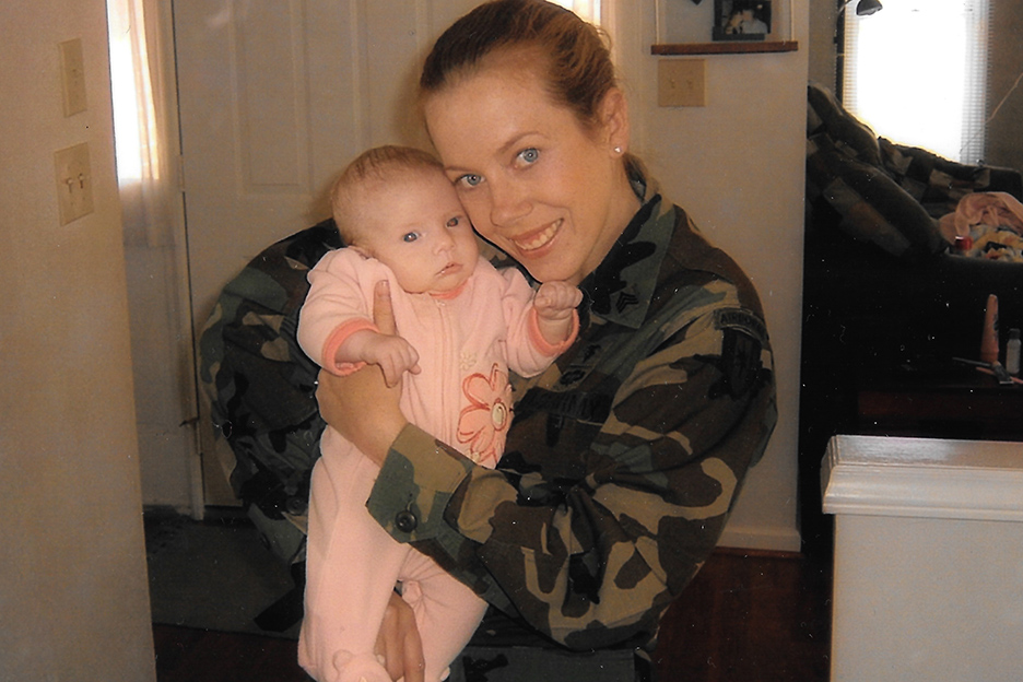 Sgt. Kristen Emery was an Army medic with the 82nd Airborne Division at Fort Bragg when she gave birth to her daughter in 2004. As a child, Emery underwent chemotherapy to fight Hodgkin's lymphoma; her daughter was born with chromosomal abnormalities. Emery wonders if her exposure growing up at Patrick Air Force Base in the early 1980s caused both her cancer and her daughter's health issues. (Courtesy of Kristen Emery)