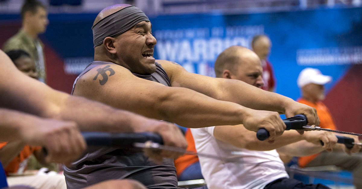Team SOCOM Chief Petty Officer Phil Fong competes in the 2018 DoD Warrior Games indoor rowing competition at the Air Force Academy in Colorado Springs, Colo. June 9, 2018. (EJ Hersom/DoD)