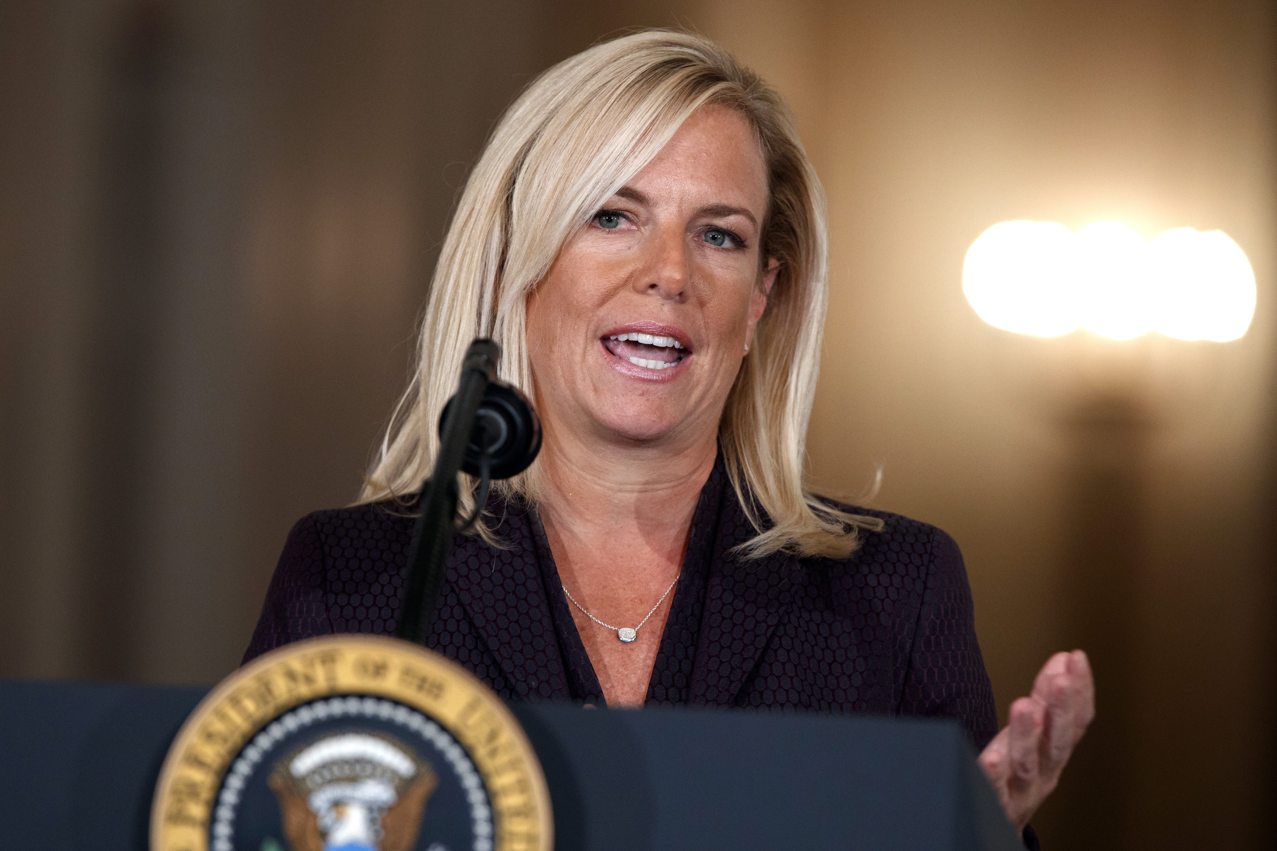 Kirstjen Nielsen, the secretary of Homeland Security, speaks during an event in the East Room of the White House, Thursday, Oct. 12, 2017, in Washington. (Evan Vucci/AP)
