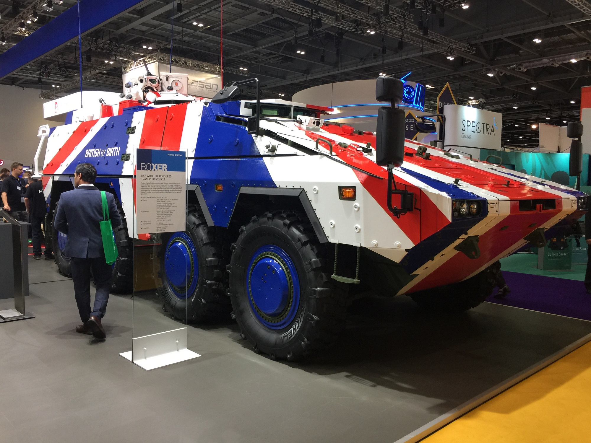 A Boxer vehicle on display at DSEI 2017 in London. (Staff Photo by Alan Lessig)
