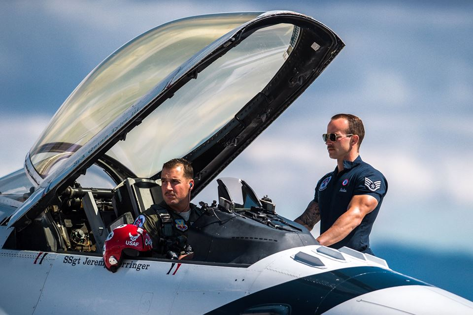 Del Bagno and his crew chief, Staff Sgt. Michael Meister, await the signal to start their F-16 Fighting Falcon during a practice show at Nellis Air Force Base March 14. (Master Sgt. Christopher Boitz/Air Force)
