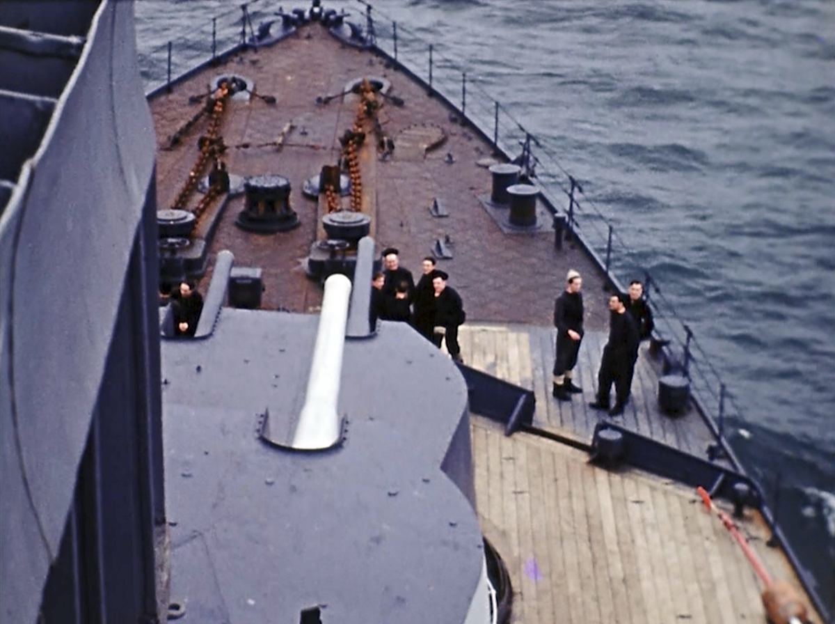 View from a ship on D-Day off the coast of France on June 6, 1944. Seventy-five years later, surprising color images of the D-Day invasion and aftermath bring an immediacy to wartime memories. They were filmed by Hollywood director George Stevens and rediscovered years after his death. (War Footage From the George Stevens Collection at the Library of Congress via AP)