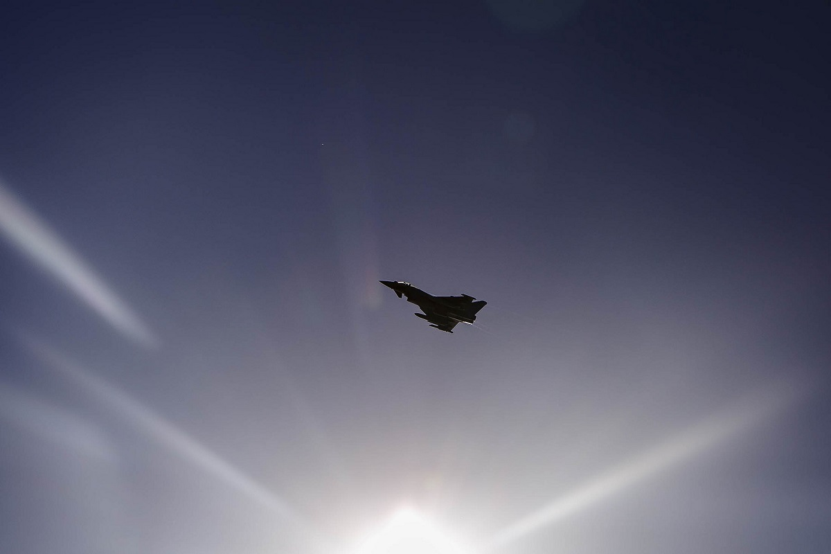 A Spanish Air Force Eurofighter Typhoon simulates close-air support during a BALTOPS 2018 scenario at Ustka, Poland, on June 7. (Dengrier M. Baez/U.S. Marine Corps)