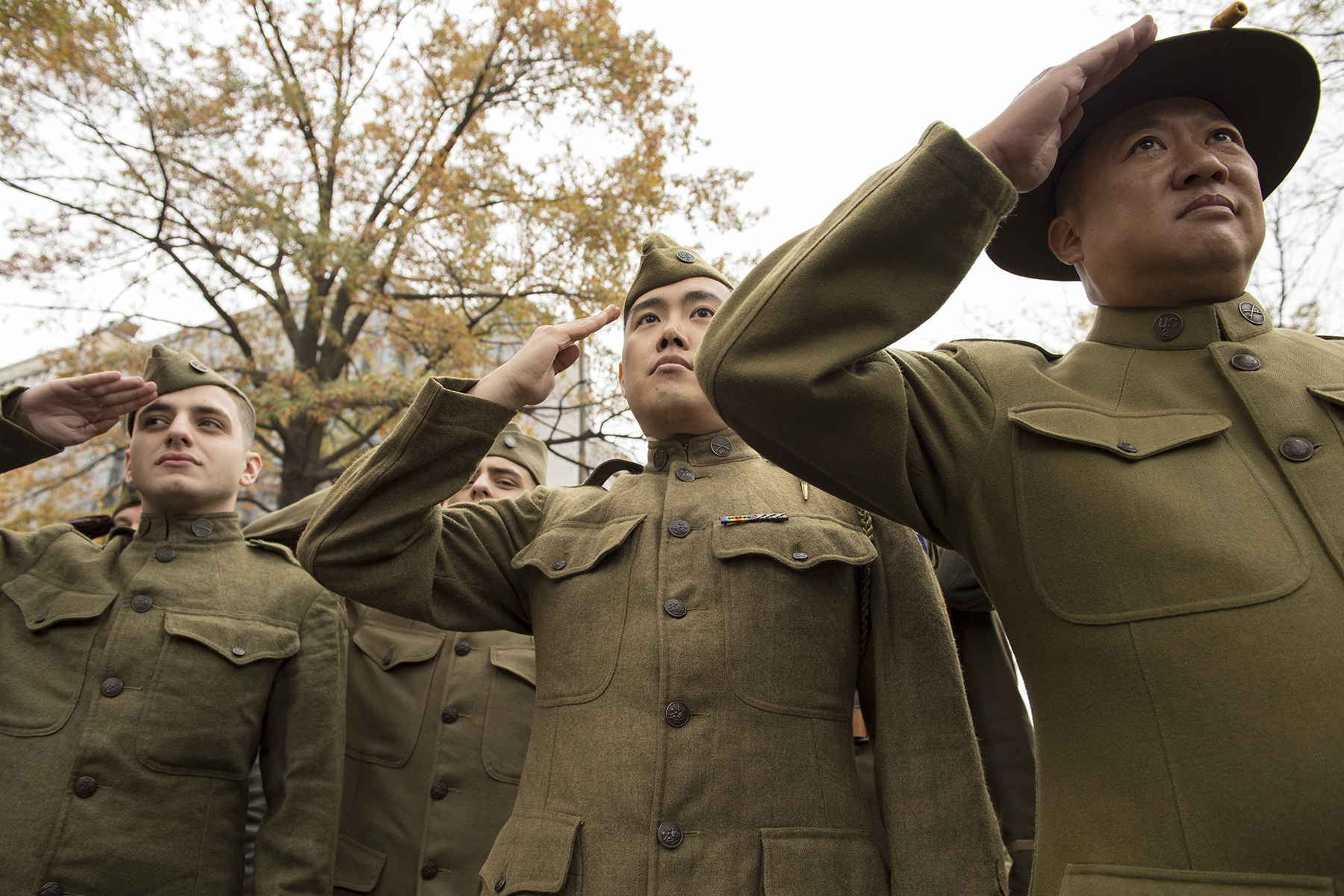 World War I re-enactors salute during the National World War I Memorial groundbreaking ceremony at Pershing Park in Washington. Construction of the memorial is expected to be completed in a year. (EJ Hersom/Department of Defense)