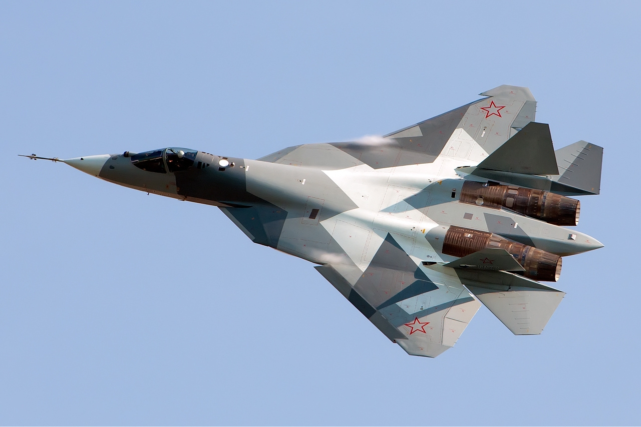 A T-50 prototype for the Su-57 flies at the MAKS 2011 air show. (Alex Beltyukov via WIkipedia Commons)