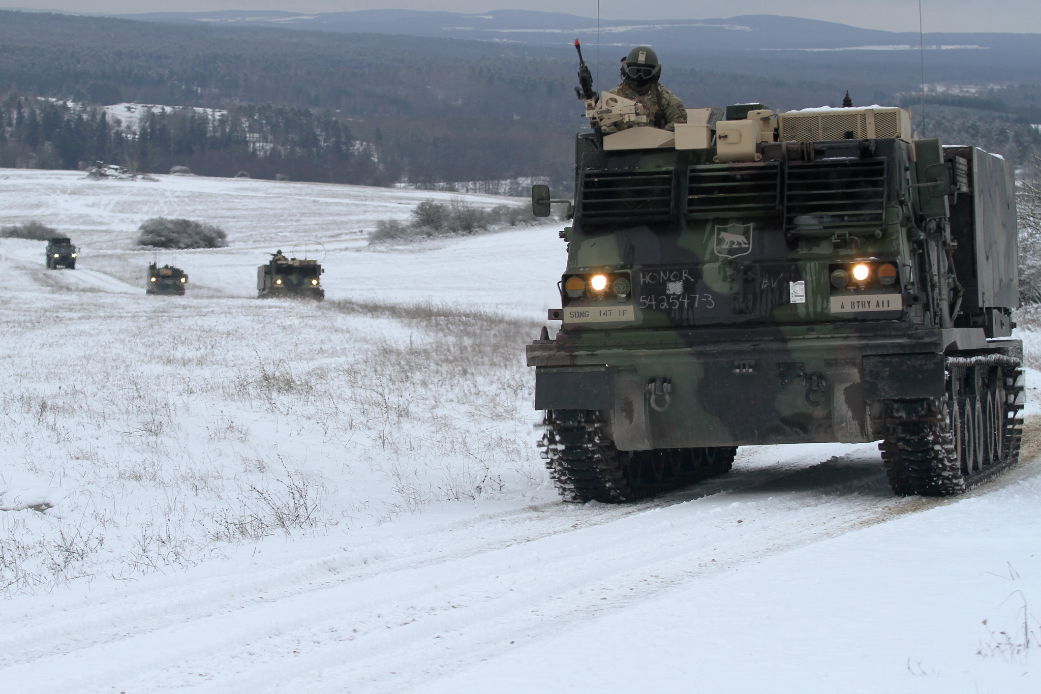South Dakota's National Guard's 1-147th Field Artillery Battalion convoys to their training site for a two-day field training exercise during Operation Atlantic Resolve in Grafenwohr, Germany, Jan. 29, 2020. (Spc. Tyler O'Connell/National Guard)