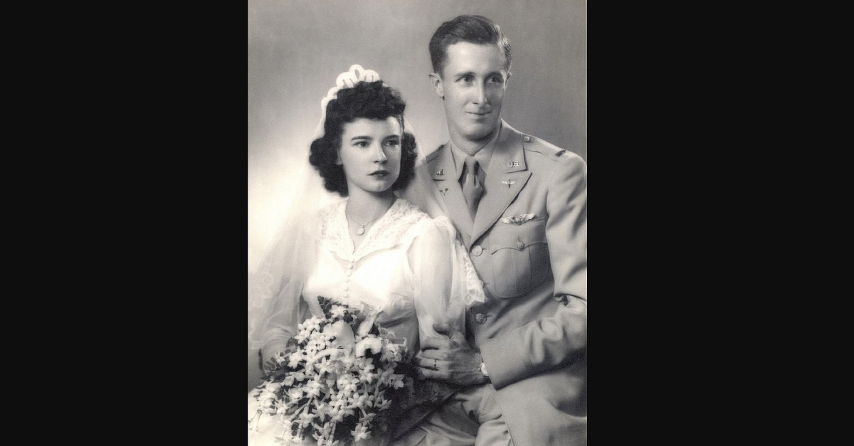 U.S. Army Air Corps 1st Lt. John Crouchley and his wife, Dorothy, pose for their wedding photo in 1943. Crouchley died on a bombing mission in 1944. After 73 years, his partial remains have been identified. Crouchley's wedding ring, visible in the photo and engraved with his wife's initials, was one of the personal items found that was used to identify him. (Courtesy photo)