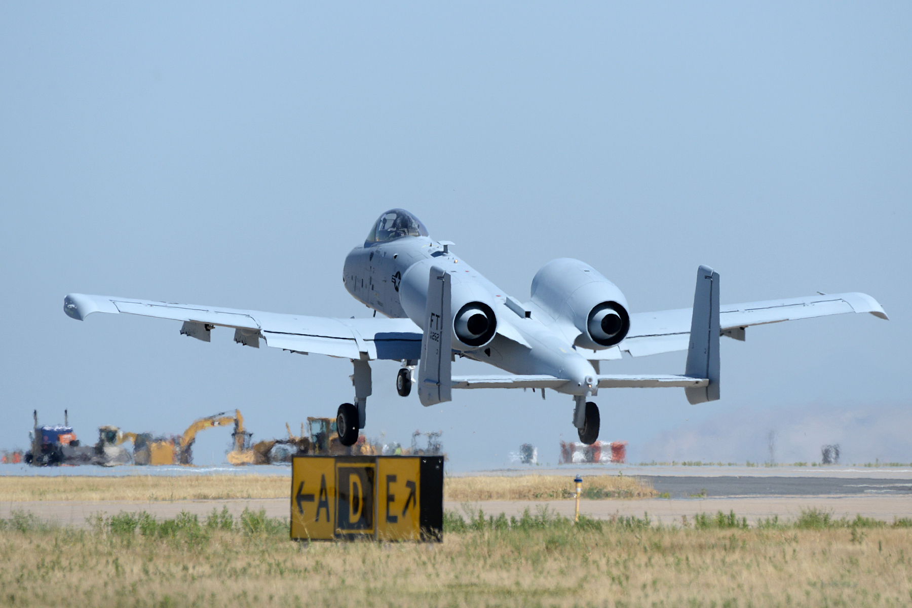 Lt. Col. Ryan Richardson, 514th Flight Test Squadron commander and A-10 test pilot, takes off during a functional check flight of an A-10 Thunderbolt II at Hill Air Force Base, Utah, on July 25, 2019. (Alex R. Lloyd/U.S. Air Force)