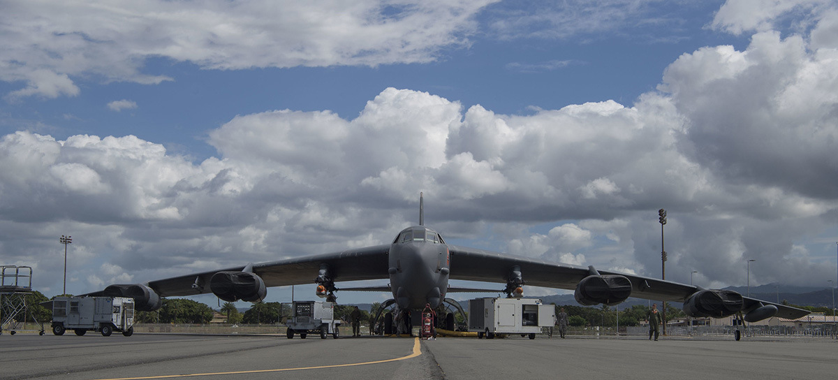 A B-52 Stratofortress prepares for an operational demonstration of the Quickstrike-ER (QS-ER) naval mine project on May 28, 2019, at the Pacific Missile Range Facility at Joint Base Pearl Harbor-Hickam, Hawaii. (Tech. Sgt. Heather Redman/Air Force)