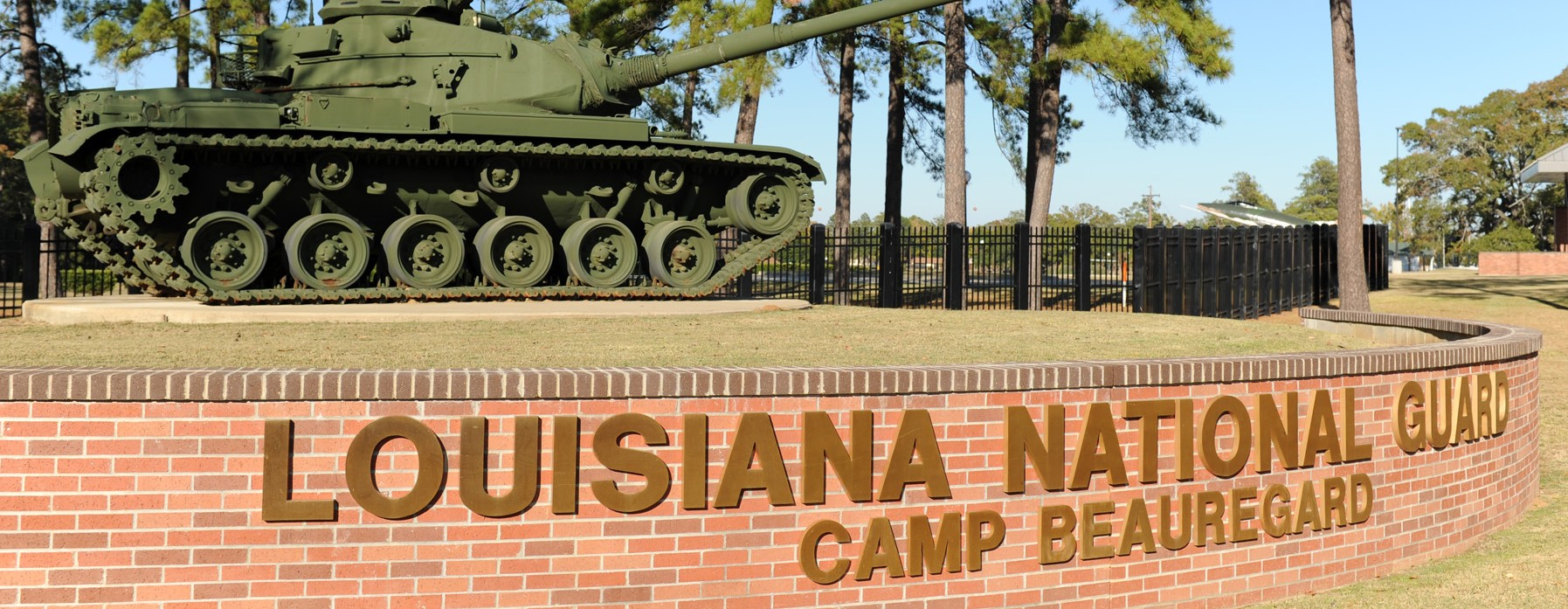 The main gate at Louisiana Army National Guard installation Camp Beauregard, Louisiana, one of 10 Army posts named for Confederate officers. (Louisiana Army National Guard)