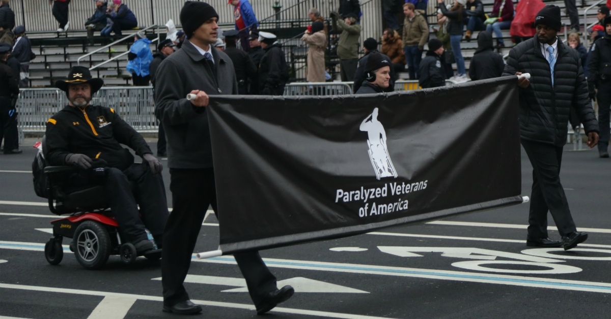 Members of Paralyzed Veterans of America march in the 58th Presidential Inauguration at the Navy Memorial on Pennsylvania Avenue, Washington, D.C. (Staff Sgt. Nicholaus Williams/Army)