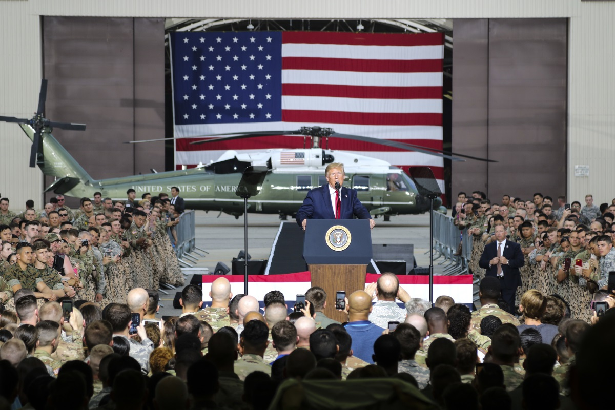 President Donald Trump speaks to service members during a June 30, 2019, visit to Osan Air Base, South Korea. (Staff Sgt. Cody Harding/Army)