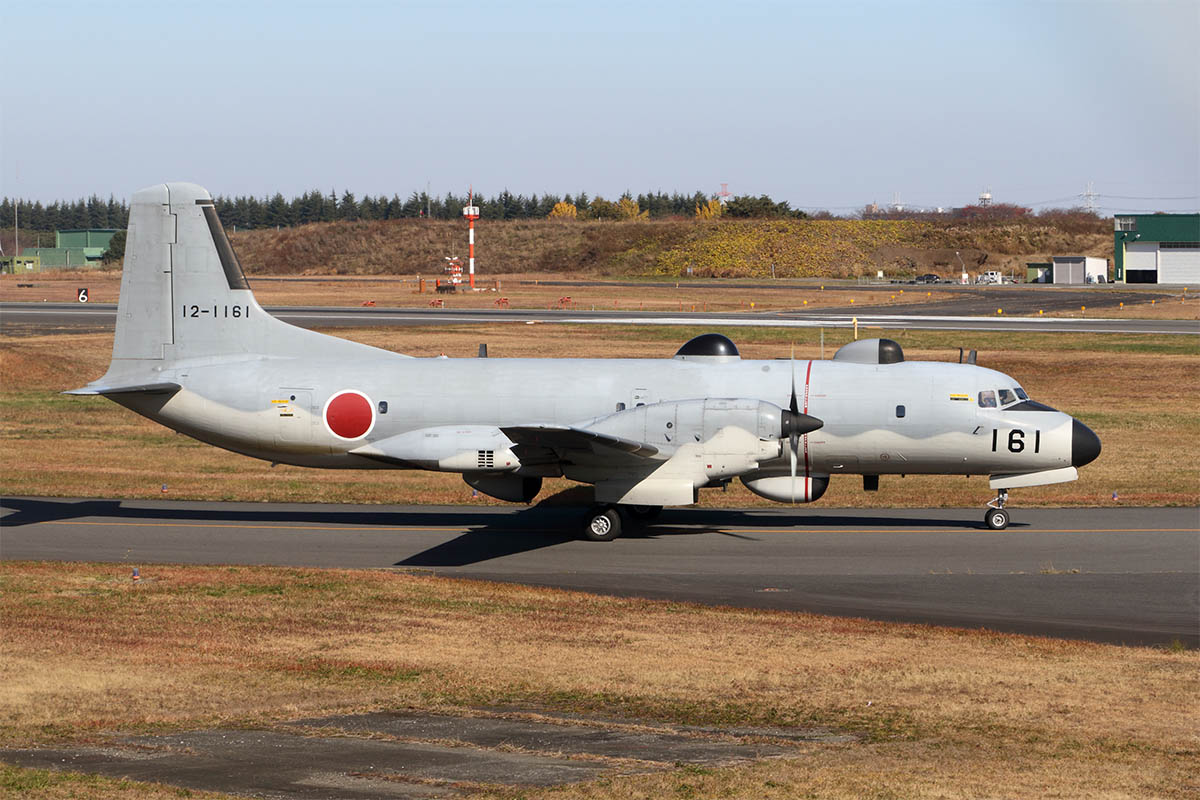 A NAMC YS-11EB electronic intelligence gathering aircraft taxis for takeoff at Iruma Air Base, western Tokyo, in late November. Japan currently flies four of these aircraft and is developing a replacement aircraft for this role using the C-2 airlifter. (Mike Yeo/Staff)