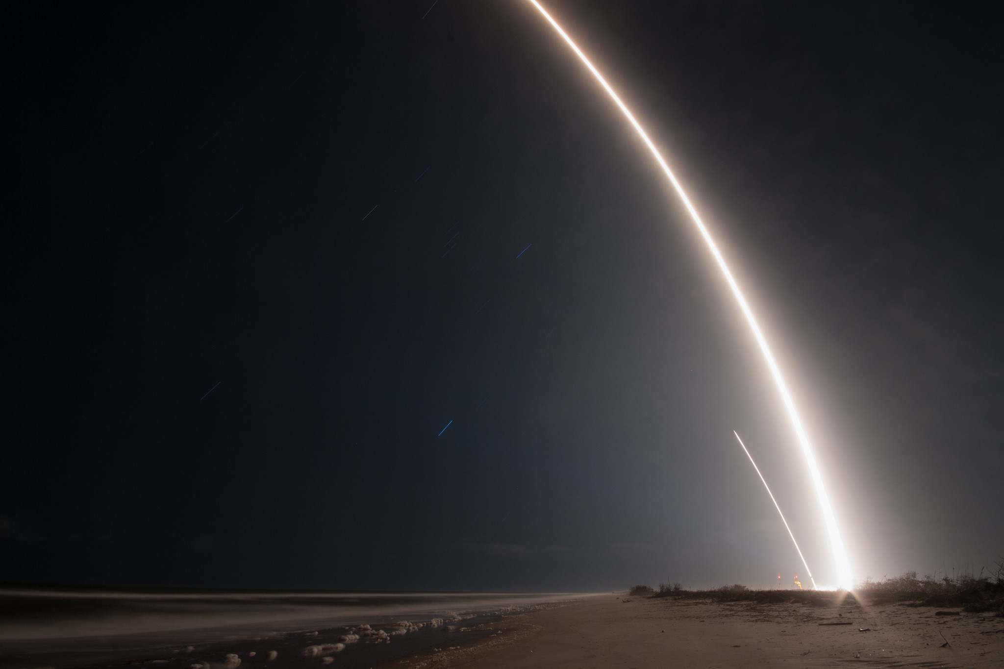 The 45th Space Wing supported the SpaceX launch of the Zuma spacecraft from Space Launch Complex 40 (SLC-40) at Cape Canaveral Air Force Station, Florida on Jan. 7, 2018. Following stage separation, Falcon 9's first stage landed at SpaceX's Landing Zone 1 (LZ-1) at Cape Canaveral Air Force Station, Florida. (Courtesy photo/SpaceX)