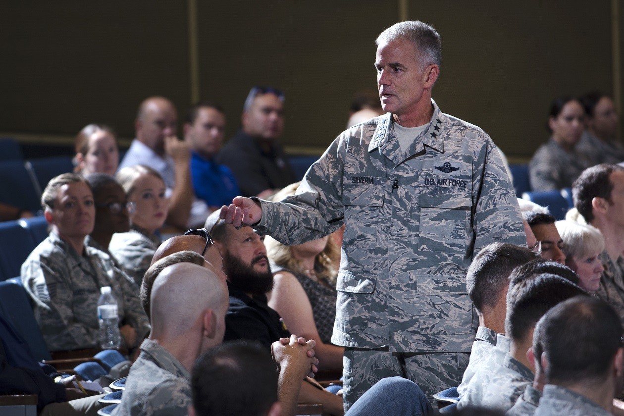 Air Force Academy superintendent Lt. Gen. Jay Silveria talks with airmen during an all call at Arnold Hall Theater Aug. 17. Silveria took command of the academy Aug. 11. (Mike Kaplan/Air Force)