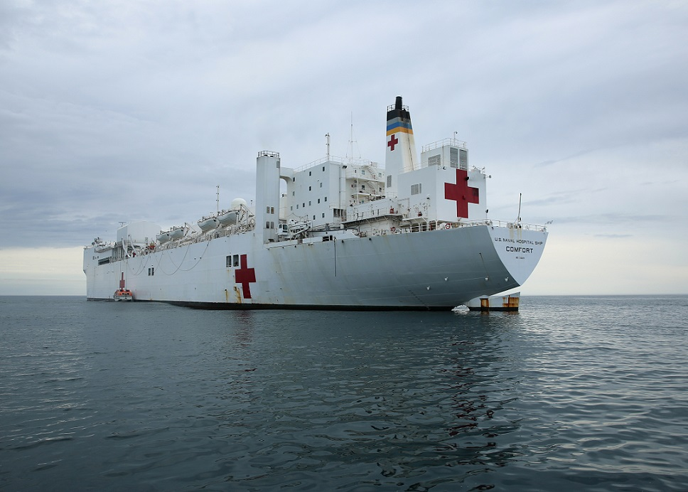 The Military Sealift Command hospital ship USNS Comfort (T-AH 20) lowers its tender in the Atlantic Ocean during a recent military exercise. On Sept. 26, the Federal Emergency Management Agency said the hospital ship would be dispatched to Puerto Rico to assist with Hurricane Maria relief efforts. (U.S. Navy photo by Bill Mesta)