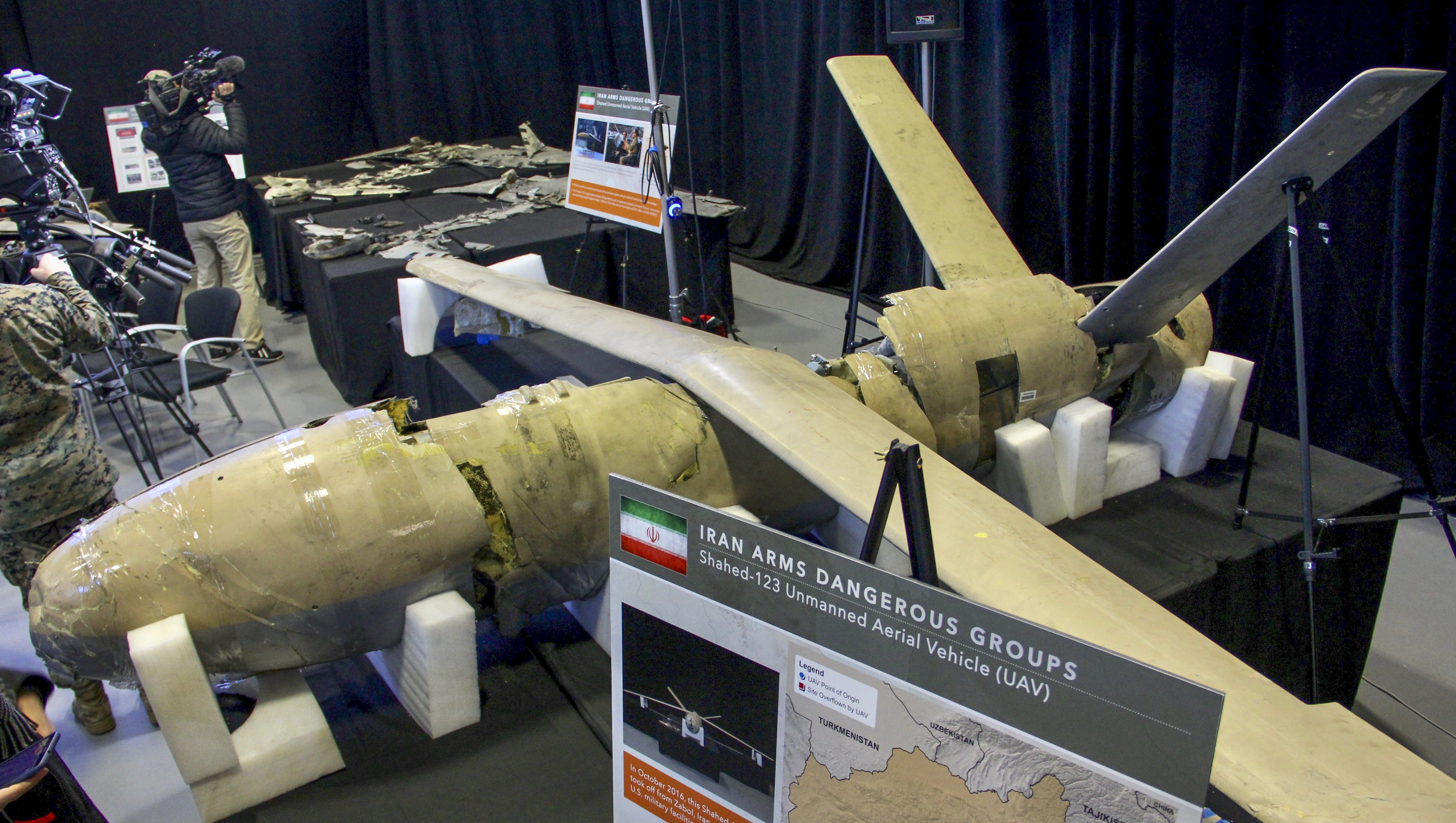 The US military displays what it says are Iranian weapons, at Joint Base Anacostia-Bolling in Washington, DC, on November 29, 2018. - Senior US officials presented what the Pentagon called