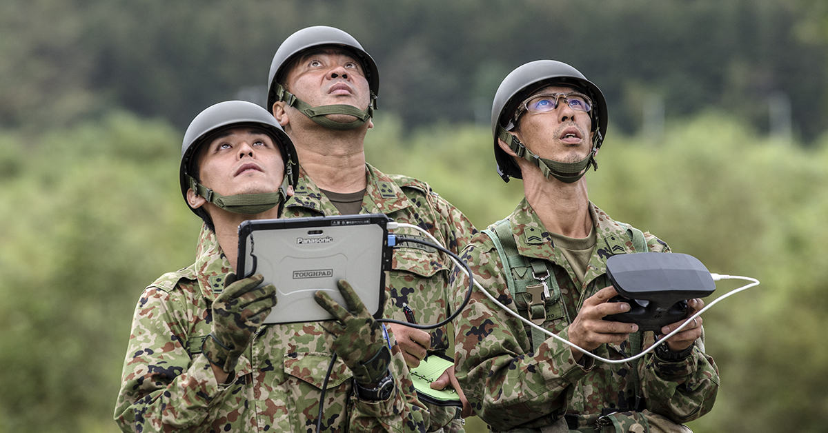 Japanese soldiers operate a drone as they search for victims of a landslide triggered by an earthquake, on September 8, 2018 in Atsuma near Sapporo, Japan. Twenty one people are now confirmed to have been killed with eight still missing and hundreds injured two days after a powerful 6.7-magnitude earthquake struck the northern Japanese island of Hokkaido triggering landslides and widespread disruption. (Carl Court/Getty Images)